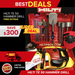 Hilti Te 50 Hammer Drill Preowned Free Smart Watch Bits Extras Quick Ship