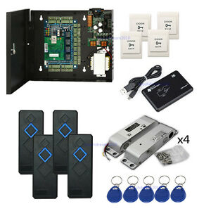 4 Door Security Access Control Kit Surface Mounted Electric Bolt Lock Power Box