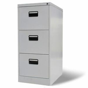 Vidaxl File Cabinet W 3 Drawers Gray Metal Home Office Storage Organizer