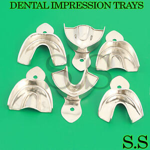 Dental Stainless Steel Non perforated Impression Trays Autoclavable Set Of 6