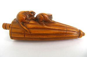 2 Inch Hand Carved Boxwood Netsuke Two Mouse On Umbrella Diy Dress Pendant