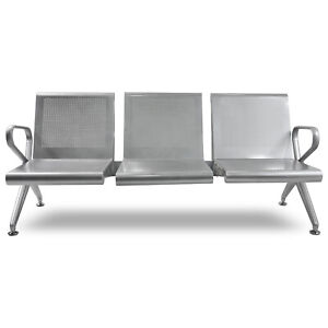 3 seat Waiting Room Bench Airport Office Salon Steel Seat Reception Guest Chair