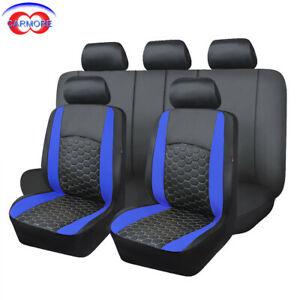 Car Seat Covers Set Pu Leather Universal Embroidery Van Truck Low Bucket Blue