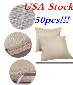 Usa Stock 50pcs Linen Sublimation Transfer Blank Pillow Case Cushion Cover