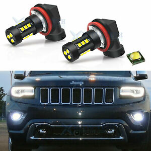 2x Xenon White 15 smd Led Fog Light Bulbs For Jeep Grand Cherokee 2014 2019