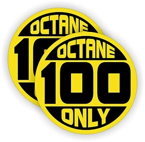 2 100 Octane Only Fuel Door Vinyl Stickers Race Car Tuned Gas Decals Labels