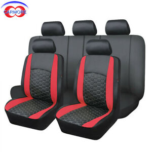Car Seat Covers Set Pu Leather Universal Embroidery Van Truck Low Bucket Red