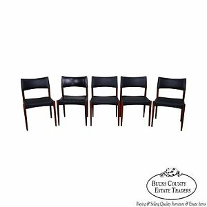 Danish Modern Set Of 5 Teak Dining Chairs By Johannes Anderson
