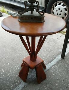 Beautiful Vintage Mid Century Modern Round Rock Maple Table Stand Side Table