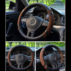 40cm 16 Car Steering Wheel Cover Auto Cover Summer Microfiber Leather Coffee