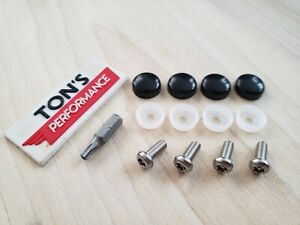 Bmw Security Anti Theft Auto License Plate Screws Stainless Bolts Black Caps