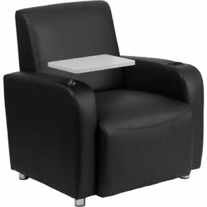 Black Leather Guest Chair With Tablet Arm Chrome Legs And Cup Holder Flabt8217b