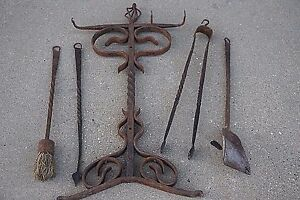 Tudor Arts Crafts Antique Wrought Iron Fireplace Tools Stand