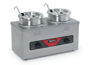 Nemco 6120a cw icl 4qt Twin Cooker Warmer W Inset Ladle And Cover