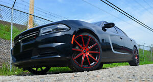 4 Gwg Wheels 22 Inch Red Mod Rims Fits Dodge Charger 2015