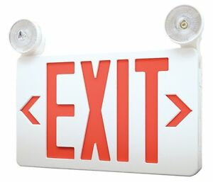 Lumapro Led Exit Sign With Emergency Lights Red