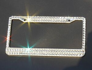 Crystal Rhinestones Stainless Steel License Plate Frame With Matching Screws