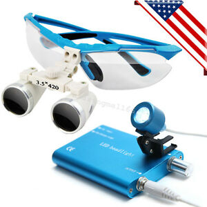 usa Blue Dental Surgical Binocular Loupes 3 5x 420mm With Led Head Light Lamp