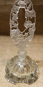 Victorian Czech Perfume Bottle Floral Design Etched Stopper Impressed Letters