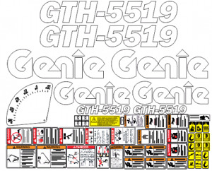 Genie Gth5519 Telehandler Decal Set safety Only