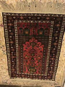 Vintage Afghan Hand Knotted Antique 100 Wool Persian Turkish Prayer Rug