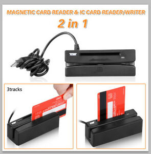 2 In 1 Usb Track Magnetic Stripe Card Reader Ic Card Reader Writer 3 Tracks Us