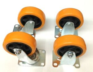 4 Heavy Duty 4 Inch Caster Plate Polyurethane 2 Swivel And 2 Fixed Wheels