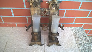 Vintage 1950 Old Church Light Wall Sconces Lamp Cast Iron Big Candles Of Glass