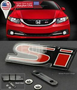 Oe Abs Front Si S i Black Red Grill Emblem Nameplate Logo Badge For Honda Civic