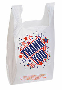 11 X 6 X 21 Plastic T shirt Bags 500 Grocery Thank You Red White Blue