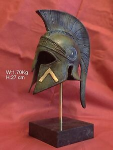 Ancient Greek Spartan Bronze Helmet Museum Replica On A Marble Base