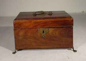 Antique Mahogany Rosewood Georgian English Tea Caddy Humidor Wooden Jewelry Box