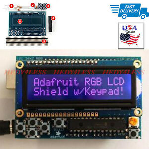 83 15710 Rgb Lcd Shield Kit W 16x2 Character Negative Display uses Only 2 Pins