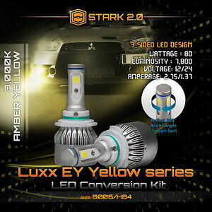 80w 7800lm Flip Cob Led Kit 3000k Yellow Light Bulbs Fog Lights Bulbs 9006 Hb4