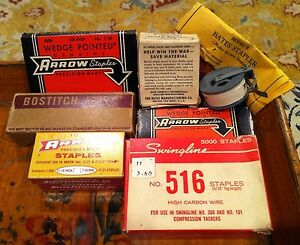 Lot 7 Full Boxes Of Vintage Staples Bostitch Arrow Swingline Bates Wwii Ww2 Nos