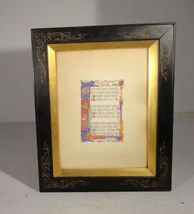 Antique Illuminated Manuscript Poem R E Moore Painted Gilt Book Page