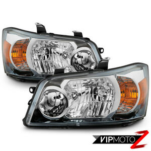 Fit 01 07 Toyota Highlander Chrome Headlights Housing Headlamps Replacement Pair