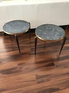 Vintage Mid Century Danish Modern Stacking Nest Tables Set 2 Plus Faux Marble