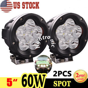 2x 5 60w Round Led Work Light Spot Driving Fog Lamp Offroad Suv Combo Cover