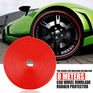 Car Auto Wheel Hub Rim Edge Protector Ring Tire Guard Sticker Rubber Strip Red