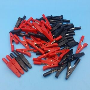 50pcs Insulated Mini Test Alligator Clip Probe Fit 2mm Banana Connector