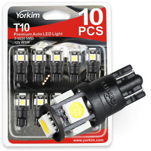 Yorkim 194 Led Bulb White 2825 Led Bulb T10 Wedge 5 Smd 5050 W5w 168 Bulb Led
