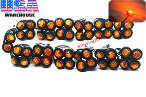 50x 3 4 Marker Lights Triple Diode Led Truck Trailer Clearance Indicator Yellow