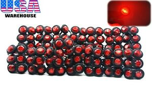 100x 3 4 Marker Lights Triple Diode Led Truck Trailer Clearance Indicator Red