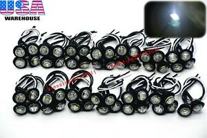 50x 3 4 Marker Lights Triple Diode Led Truck Trailer Clearance Indicator White