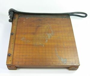 Wood Paper Cutter Vintage Ingento No 3 10 Ideal School Cast Iron Guillotine