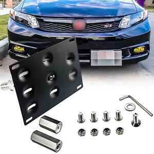 Black Tow Hook License Plate Front Bumper Mount Bracket For Honda Ap Fit Acura