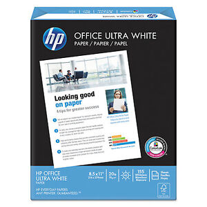 Hp Office Ultra white Paper 92 Bright 20lb 8 1 2 X 11 500 ream 10 carton