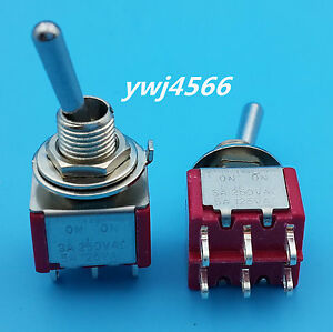 50pcs Ac 125v 5a Dpdt 6pin On on 2 Position Miniature Toggle Switch Good Quality