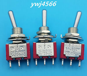 50pcs Ac 125v 5a Spdt 3 Pin On off on 3 Position Toggle Switch Good Quality